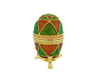 Green & Red Faberge Style Egg Trinket Box, Decorated Egg Collectable Ornament - 6cm
