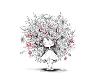 Girl with Garden Hair - 8 x 10 ART PRINT