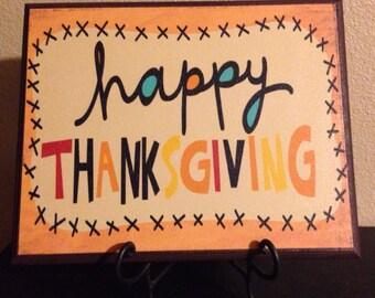 Happy Thanksgiving Wood Canvas Plaque