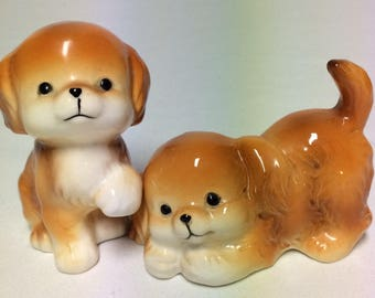 Vintage Salt And Pepper Shakers Brown Puppy Dogs Made In Japan
