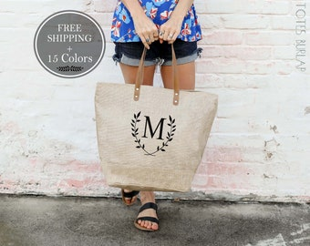 Mothers Day Gift Monogram Tote Bag Sister Gift for Friend Bridesmaid Gifts Weekender Bag Women Bridesmaid Totes Bachelorette Party Beach Bag