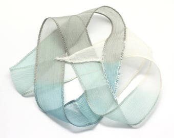 1pc - dyed silk ribbon necklace to 85 x 2.5 cm white grey blue Peacock (ref SOIE138) 4558550003041