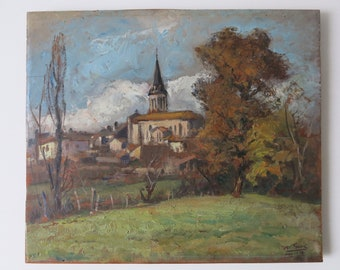 FRENCH VILLAGE PAINTING - 1936 French oil landscape of village church signed by M. Sueit