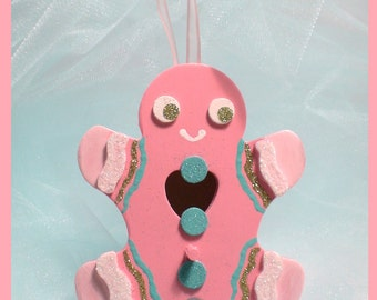 "Pink Christmas Ornament - Pink and Pastel Gingerbread Man Birdhouse - ""Gingerbread Gorgeousness"""