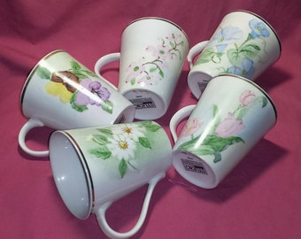 Studio Gold Hand Painted Porcelain Mugs Set of 5 / Hand Painted Floral Mugs Set of 5 /