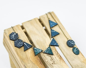 Wooden necklace Dark blue necklace Geometric necklace handpainted jewelry Everyday necklace lightweight jewelry