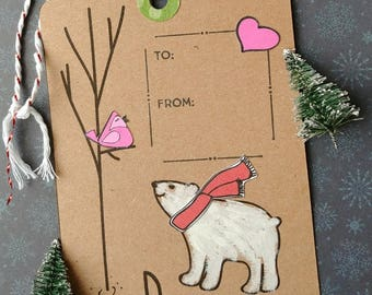 """3 1/2"""" X 5 1/2"""" Polar Bear Gift Tag, Peace Gift Tag, Wine Gift Tag, Bird Singing in a tree gift tag."""