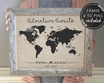 push pin map engagement gift for her rustic home decor personalized gift for