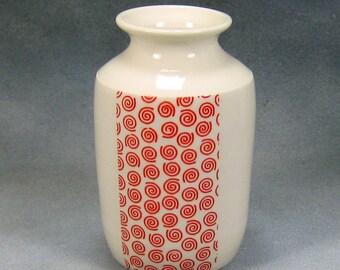 Porcelain Bud Vase Hand Thrown Ceramic Bud Vase With Red and White design 7
