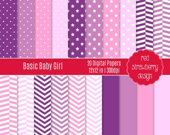 75% OFF Sale - Basic Baby Girl - 20 Digital Papers - Instant Download - JPG 12x12 (DP157)