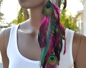 Long Pink Peacock Feather Earring, Peacock Sword Earring, Single Feather Earring
