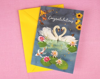 Congratulations Card / Engagement Card / Wedding Card / Illustrated card / Swan Illustration / Love Card / Wedding Anniversary card / Love.