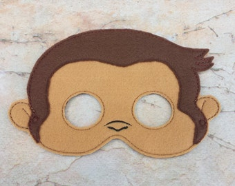 Monkey mask.Felt monkey mask.Embroidered mask