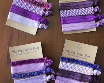 Set of 4 Elastic Hair Ties - Purplicious Theme