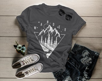 Women's Wander T-Shirt Hipster Nature Shirt Mountains Trees Stars Camping Tees