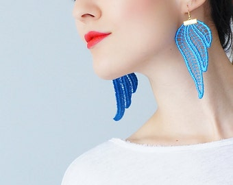 Mismatched Earrings Blue Earrings Statement Earrings Lace Earrings Boho Earrings Long Earrings Fashion Earrings Bridal Inspirational/ TUBERO