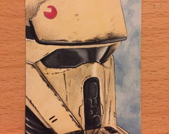 Star Wars Rogue One Shoretrooper Sketch Card