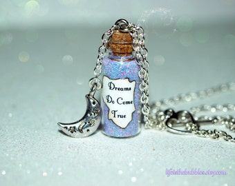 Dreams Do Come True Magical Necklace with a Night Moon Charm, Fairytales, Disney Cosplay, Disney Bound, by Life is the Bubbles