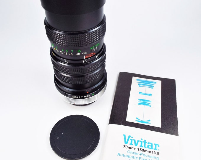 Vivitar Canon FD Mount 70-150mm f3.8 Zoom Lens - Macro Close-Focusing Automatic - Include Rare Owner's Manual & Both Caps - Clean and Tested
