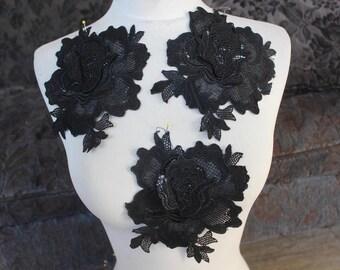 Cute venice  flower applique  black color  3 pieces listing