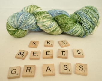 "Hand-dyed yarn, ""Sky Meets Grass"" variegated, soft and squishy yarn. Great for socks or shawls. 80/20 Superwash wool/Nylon"