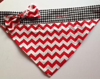 Red White & Black Bandana with Bow Tie for Dogs and Cats
