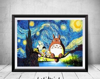 Totoro Print, My Neighbor Totoro Art, Starry Night Print, Totoro Poster, Van Gogh, Totoro Wall Art Decor, Totoro Art, Movie Poster, Prints
