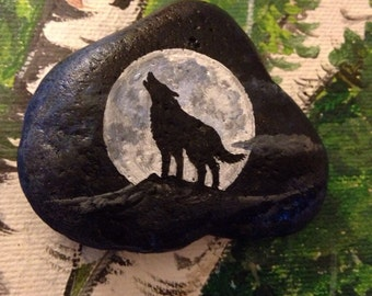Painted ROCK Mystical WOLF With Full Moon PAPERWEIGHT