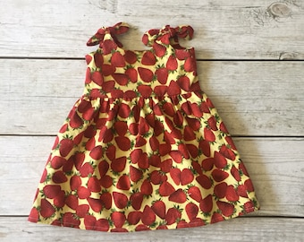 Girls Strawberry Dress, Red Girls Dress, Strawberries Infant Dress, Spring Summer Girls Dress, Fruit Baby Dress, Strawberry Baby Dress