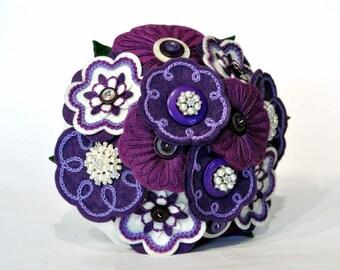Purple, cream and pearl bridal bouquet / felt hand embroidered wedding flowers / everlasting bouquet / Bridal heirloom