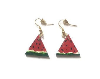 Watermelon Hand painted earrings wooden triangle earring fruit jewelry