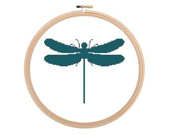 Dragonfly - Cross stitch pattern, Dragonfly Pattern, Insect Cross Stitch, Insect Pattern, Easy Cross Stitch, Simple Cross Stitch