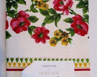 Vintage Tablecloth Heritage Rose NOS Deadstock Poland Hand Screened