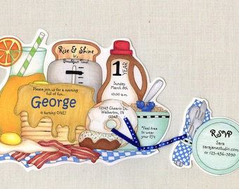 Personalized - Breakfast - Birthday Party Invitations - Breakfast Party - Pancake Party - Breakfast Invite - Handcut - Sara Jane - Set of 25