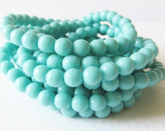 Opaque Turquoise 6mm Round Czech Pressed Glass Druk Beads, 25 Piece