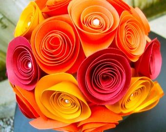 Shades of autumn orange rolled paper flower birthday/get well/graduation bouquet