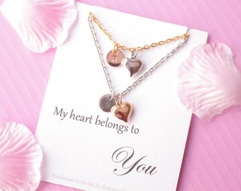 Gift for girlfriend, couples necklaces, heart necklace, gold heart necklace, Message card necklace, gift for wife, HEARTMCN04