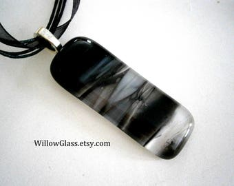 Fused Glass Pendant Streaky Black on Ribbon Cord , Glass Jewelry,  Willow Glass, SRAJD