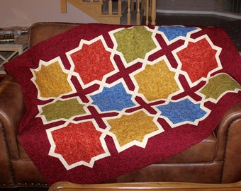 Moroccan Quilt Pattern - Moroccan / Spanish Tiles - Throw: 52 in. by 66 in.