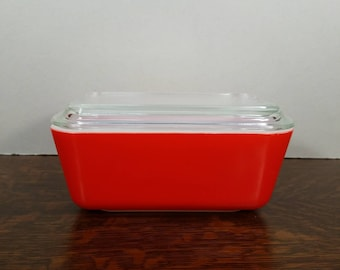 Vintage Pyrex 502 Cherry Red Friendship Milk Glass Refrigerator Dish with Lid