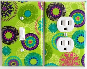Retro 70's Hippie Light Switch Cover and Outlet Plate with Mandala Shapes