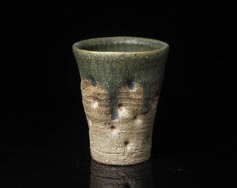 Stoneware cup, whell thrown ceramic tumbler, wood-fired ,wood-fired pottery, wood ash glaze