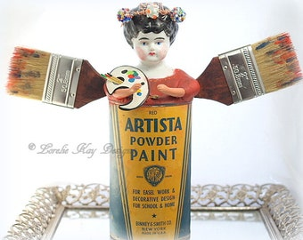 Artist Angel Assemblage Art Doll Sculpted Painter Girl Art Theme Artist Gift Lorelie Kay Original