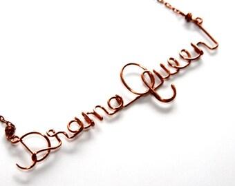 Drama Queen * Drama Necklace * Dramatic * Drama Jewelry Custom Necklace * Wire Words * Drama Charm * Custom Jewelry * Drama Queen Necklace