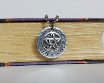 Salt & Burn - Supernatural Inspired Aluminum Charm Pendant Necklace - Hand Stamped