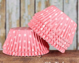 Light Pink Polka Dot Cupcake Liners, Pastel Pink Cupcake Liners, Pink Cupcake Wrappers, Baby Shower Cupcake Liners, Muffin Cases (50)