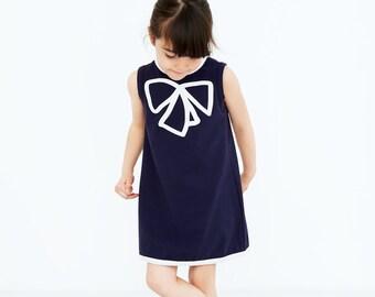 Girls dress organic cotton blue sleeveless