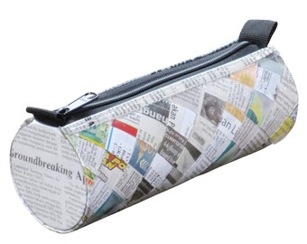 Tube pencil case newspaper, FREE SHIPPING, Pencil pouch, pencil holder , pencil bag, crayon case , zipper pencil case, Upcycled recycled