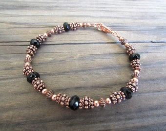 Beaded Copper Bracelet with Black Onyx in Antiqued Copper with Handmade Beads, Artisan