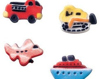 Vehicle Assortment  Sugar Decorations    Plane edible, Boat edible, Fire truck edible    Simply Darling